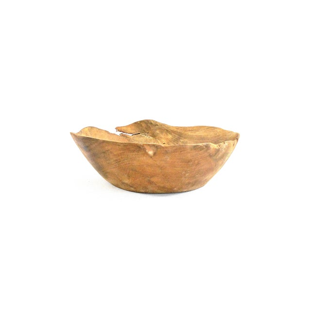 Hand Carved Solid Cherry Wood Bowl For Sale - Image 5 of 9