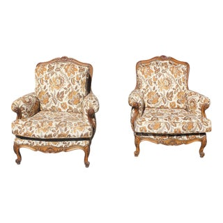 French Country Louis XV Solid Walnut Bergere Chairs - A Pair For Sale