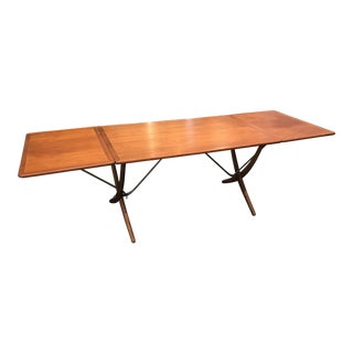 Hans Wegner X Base Drop Leaf Dining Table At-304 For Sale