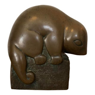 Mid-Century Bronze Opossum Figure For Sale