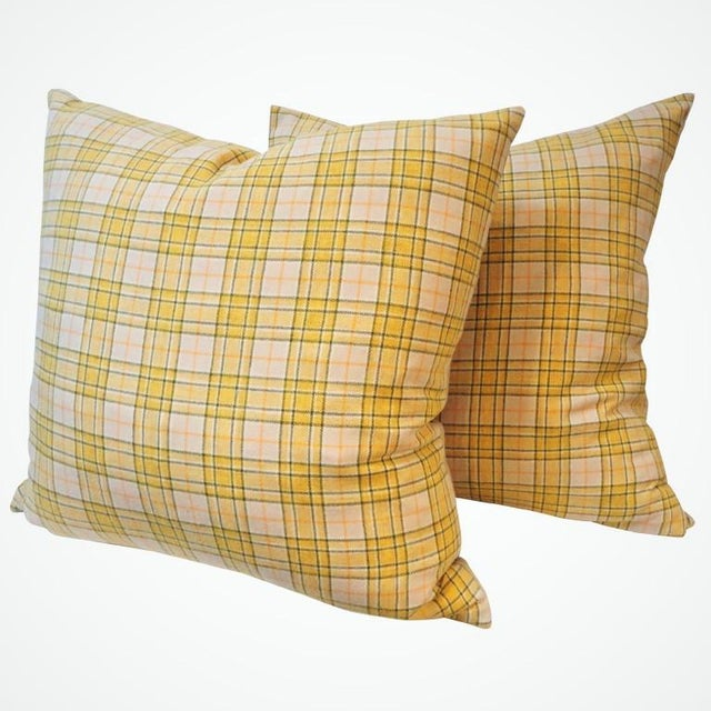 Vintage wool plaid blanket pillows in wonderful condition with cotton linen backing.Sold as a pair. Four in stock.