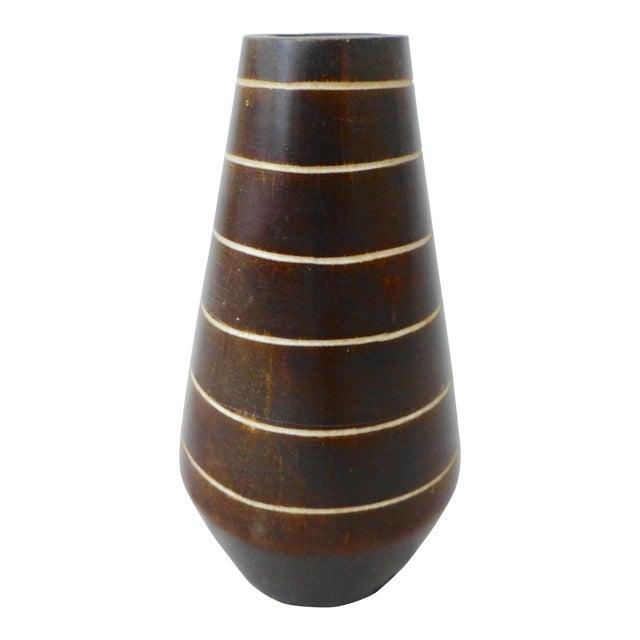 1950's Tiki Hawaiian Style Wooden Vase For Sale