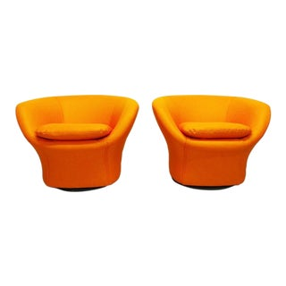 Mid Century Modern Pierre Paulin Style Mushroom Swivel Chairs- A Pair For Sale