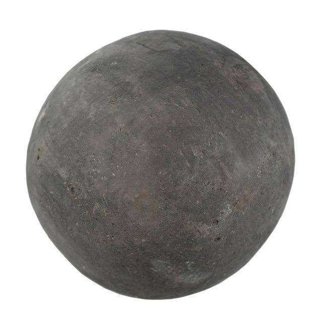 Black solid cement garden sphere. Beautiful focal sculptural art piece indoors or in the garden. Display in groupings or...