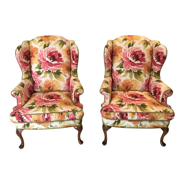 Floral Linen Wing Chairs - A Pair For Sale