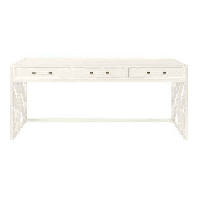 Casa Cosima CeCe Desk with Wood Fretwork Base, Cloud White For Sale