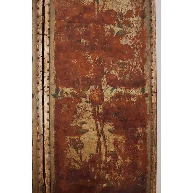 Animal Skin 19th Century English Renaissance Revival Leather Painted Screen For Sale - Image 7 of 13