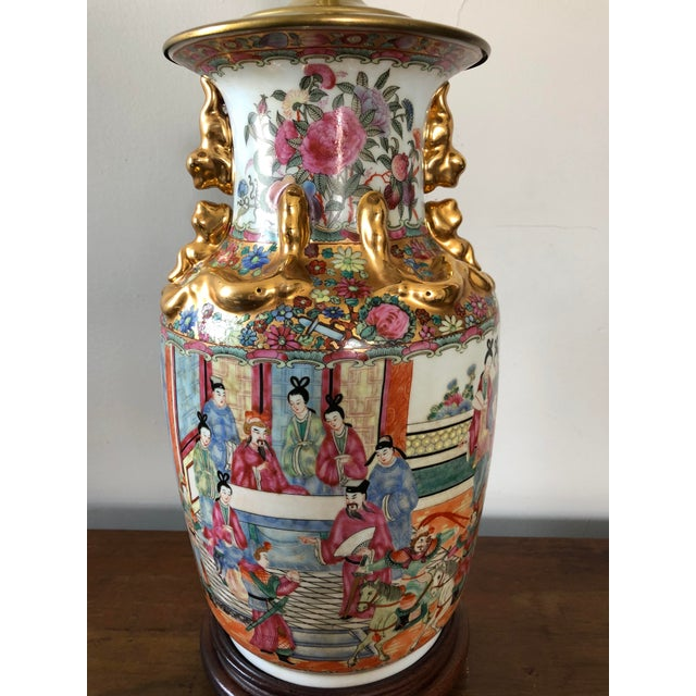 """Fine rose medallion lamp, likely a mid-century conversion of an older vase. Measures 21"""" to harp."""