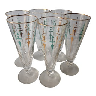 Mid Century Modern Champagne Flutes - Set of 6 For Sale