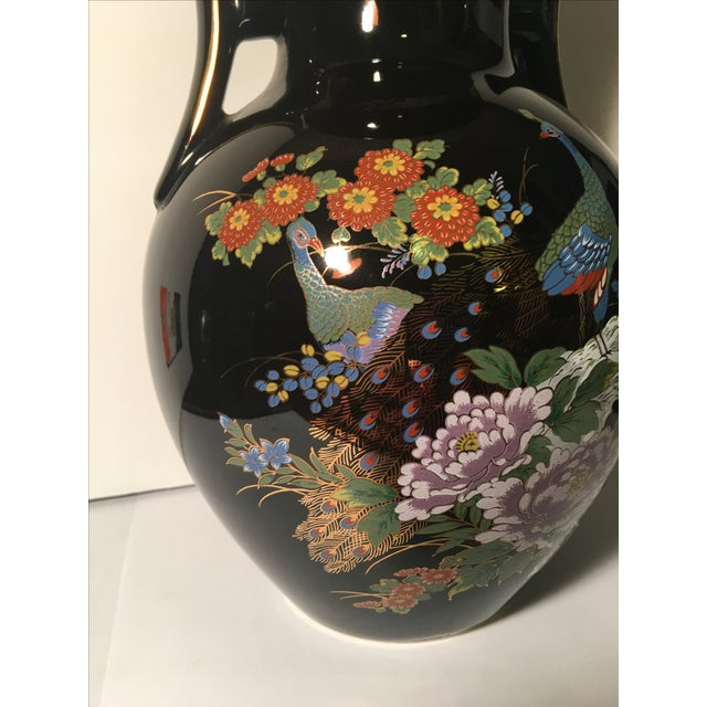 Black Chinoiserie Vase With Peacock Motif - Image 5 of 7