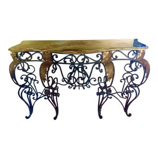 1910s Louis XV Style Wrought Iron Console Table For Sale