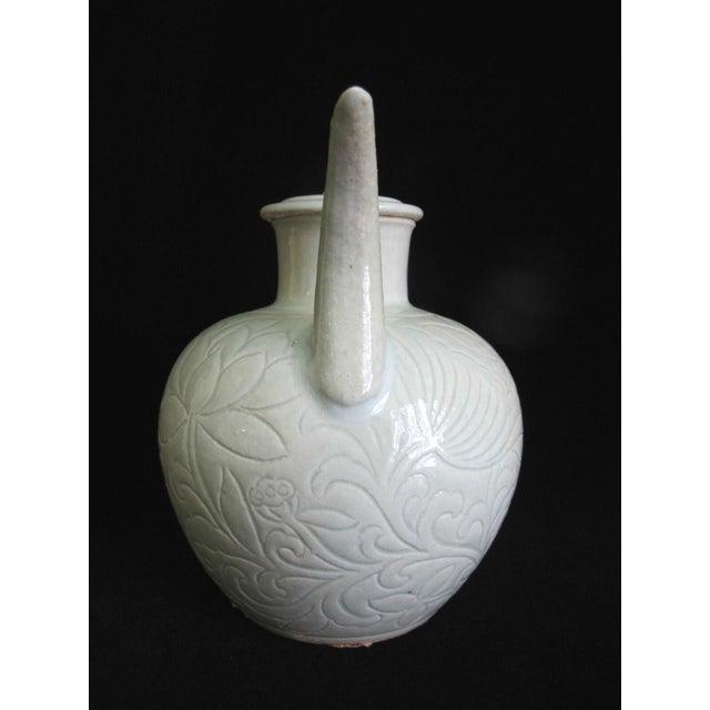 Chinese Celadon Green Glaze Pottery Wine Jug Pot W/Lotus Leaf Floral Design For Sale - Image 4 of 8