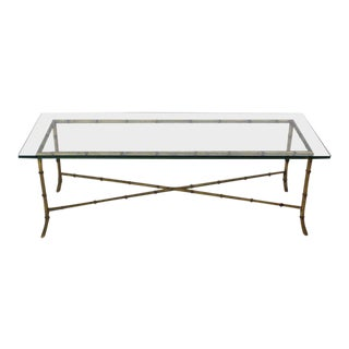 Mid-Century Modern Rectangular Gilt Faux Bamboo Glass Top X Base Coffee Table For Sale