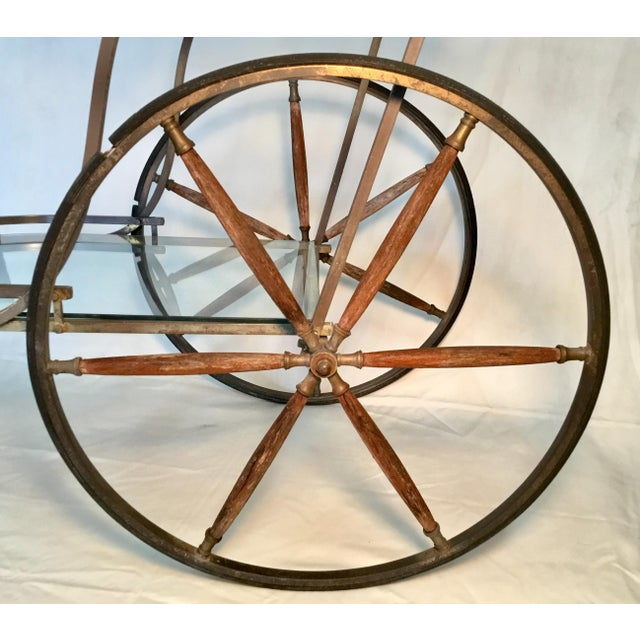 1950s Bronze and Glass Bar Cart With Wooden Spoked Wheels For Sale - Image 4 of 13