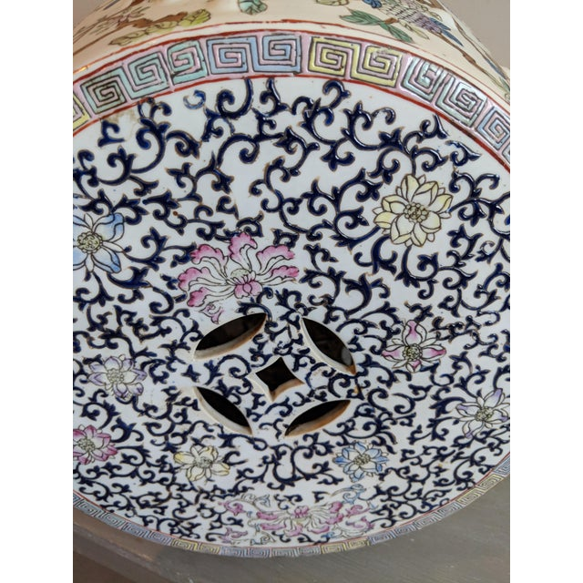 1980s Chinese Bird and Floral Detailed Enameled Porcelain Garden Stool For Sale - Image 9 of 12