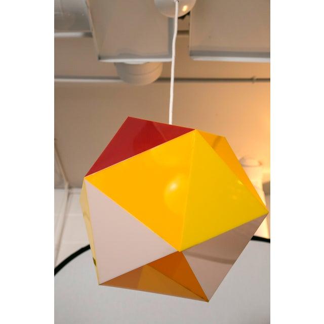 Geodesic Yellow & Orange Acrylic Pendant Light - Image 6 of 6