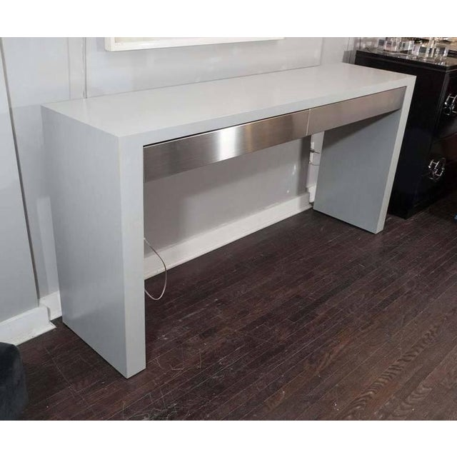 Metal Custom Gray Stained Console with Brushed Stainless Steel Drawers For Sale - Image 7 of 7