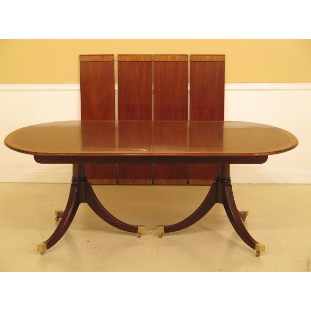 Kindel Banded Border Duncan Phyfe Mahogany Dining Table For Sale - Image 13 of 13