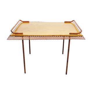 Mid-Century Modern Rare Paavo Tynell for Taito Oy Finland Perforated Metal Oak Table