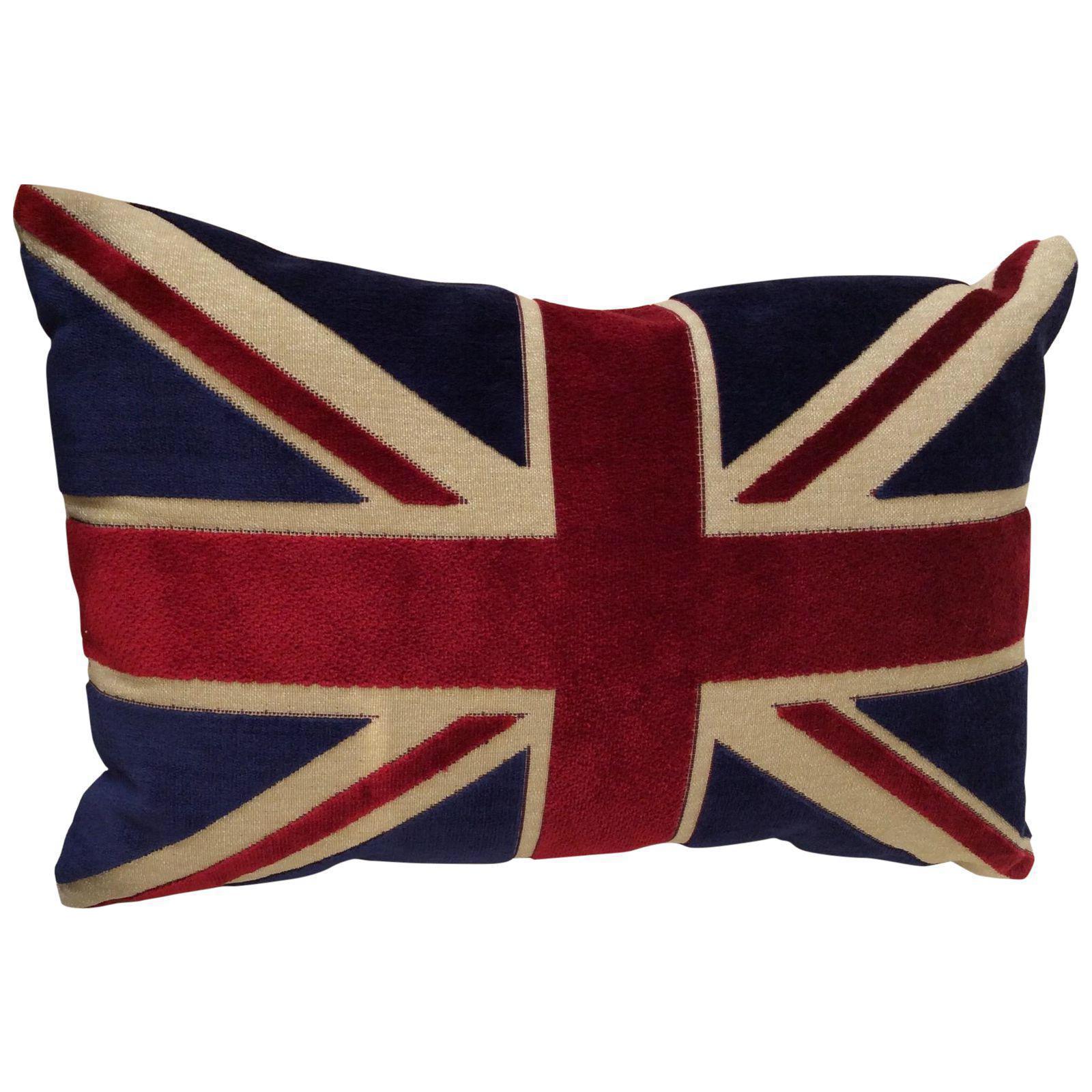 Union Jack Flag Chenille Bolster Pillow