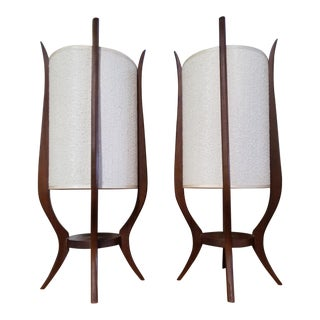 Mid-Century Sculpted Wood Lamps by Modeline - a Pair For Sale