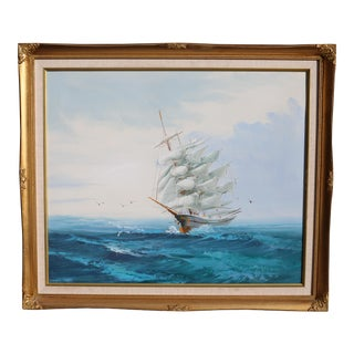 Vintage Nautical Clipper Ship Oil Painting For Sale