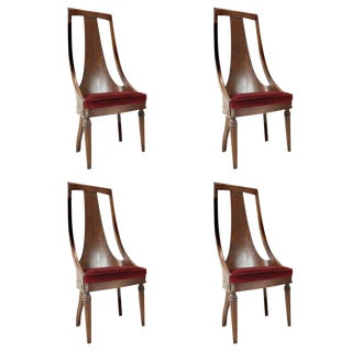 Set of Four MCM Tall Back Walnut Dining Side Chairs For Sale