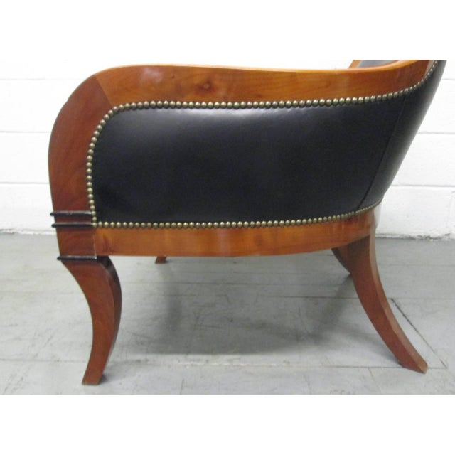 Black Leather Biedermeier Style Lounge Chair For Sale - Image 8 of 9