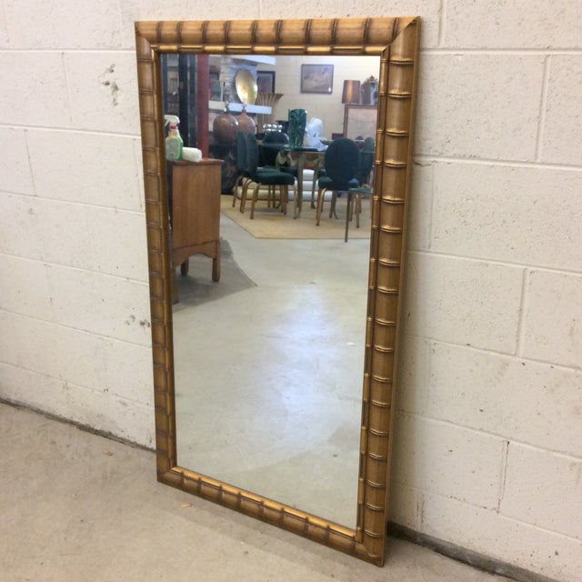 Gold Leaf Faux Bamboo Mirror - Image 2 of 8
