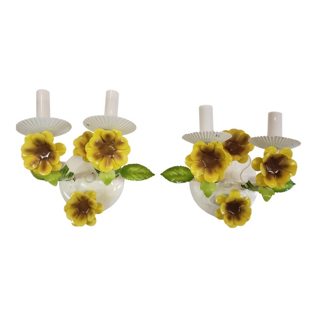 Italian Tole Yellow Daffodil Sconces - a Pair For Sale