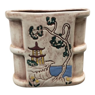 Vintage 1960's Cal Dania Pottery Ceramic Japanese Coastal Scene Motif Vase For Sale