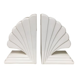 Fitz & Floyd White Deco Fan Bookends - a Pair For Sale