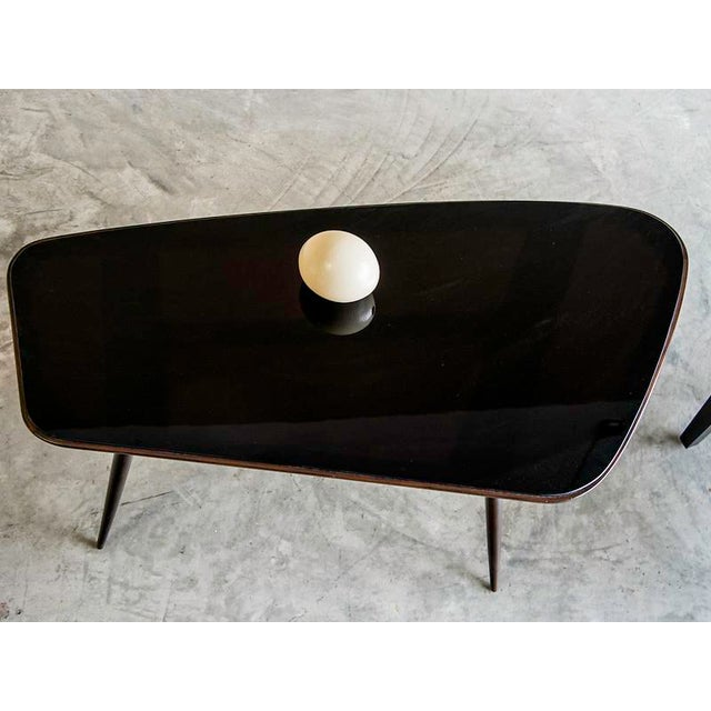 1950s Asymmetrical Vintage French Coffee Table, Rosewood and Black Glass circa 1950 For Sale - Image 5 of 5