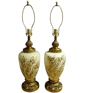 Hand Decorated Hollywood Regency Lamps - a Pair
