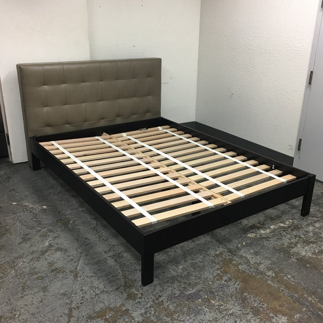 Design Plus Gallery has a Queen Size Low Grid Bed Frame by West Elm. A modern comfort., the Low Grid-Tufted Bed gets its...