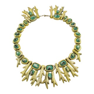 1980s Mary Oros Oversized Cast Resin Choker Necklace With Turquoise Cabochon For Sale