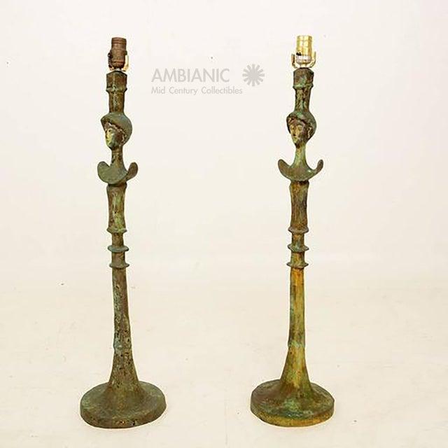 Rustic Pair of Tete De Femme Table Bronze Lamps For Sale - Image 3 of 10