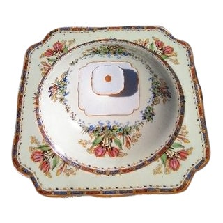 1-Crown Ducal Ware Tulip/Flower Pattern Lidded Square Serving Bowl For Sale