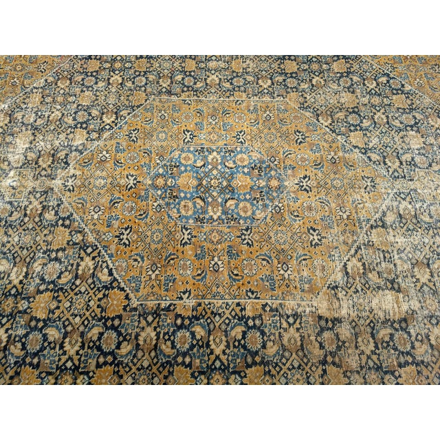 Yellow 1920s Vintage Persian Tabriz Rug - 9′4″ × 12′7″ For Sale - Image 8 of 13