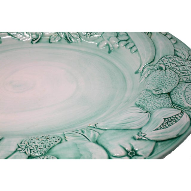 """Vintage Italian Majolica Ceramic Large 20"""" Hand-Painted Green Fruit Platter Italy For Sale - Image 4 of 13"""