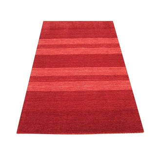 Modern Indian Red Handwoven Rug - 4'×6'