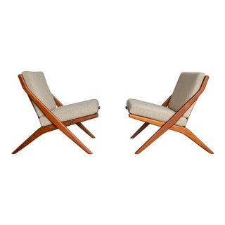 "Folke Ohlsson for Dux Teak "" Scissor "" Lounge Chairs - a Pair For Sale"