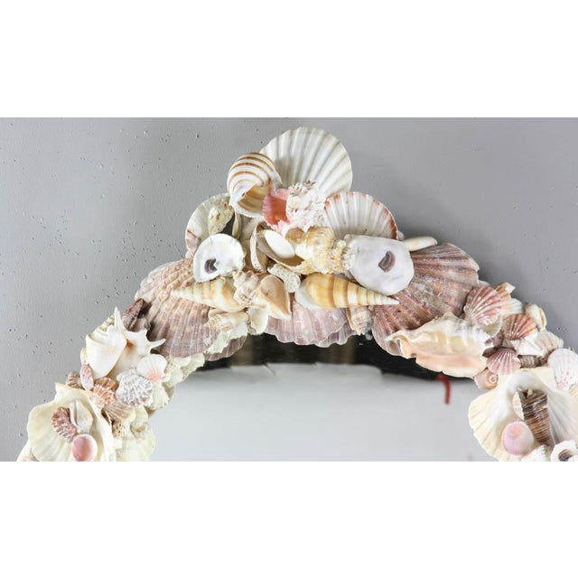 1950s Vintage Shell Encusted Mirror For Sale - Image 4 of 7