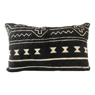Mud Cloth Black & White Custom Made Lumbar Pillow For Sale