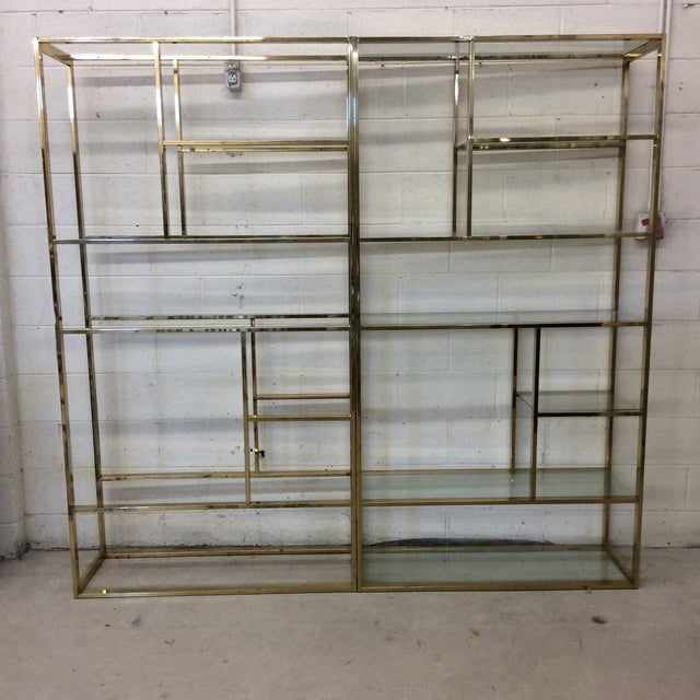 1970s Brass & Glass Etageres - a Pair For Sale - Image 11 of 11