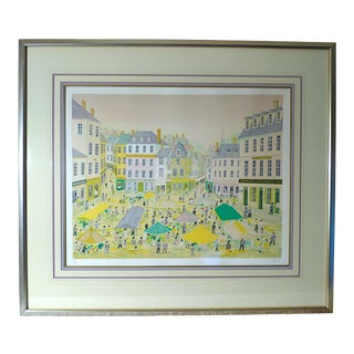 "1980s ""Place Du Marche"" Artist Proof Lithograph by Fanch Ledan, Framed For Sale"