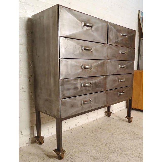 Industrial Ten-Drawer Metal Cabinet For Sale - Image 9 of 9
