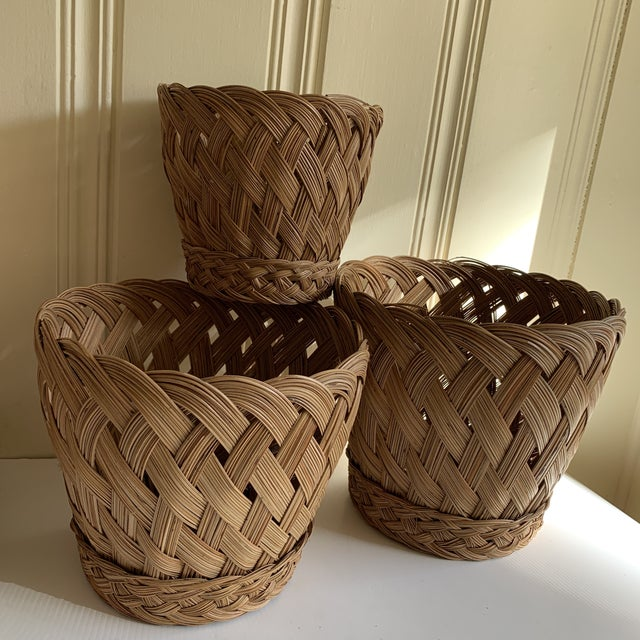Americana Earthy Classic Basket Vessels, Set of Three For Sale - Image 3 of 13