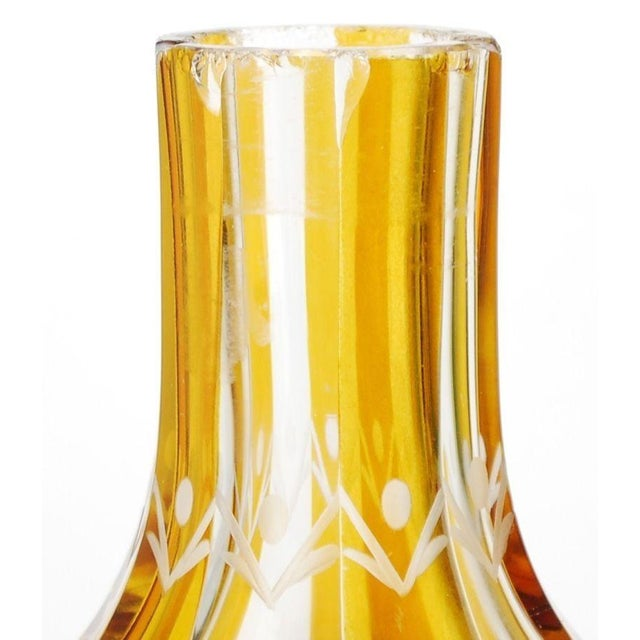 Yellow Art Deco Bohemian Decanter For Sale - Image 8 of 8