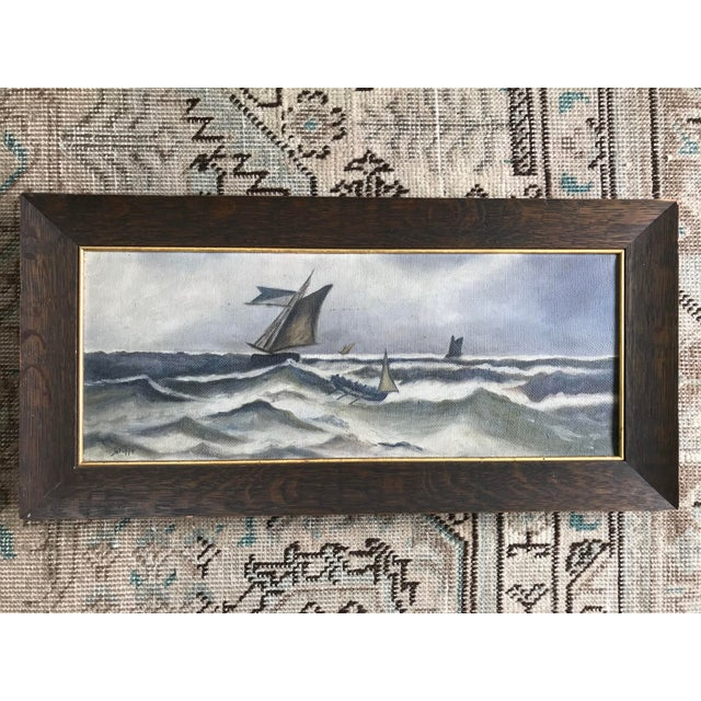 Slate Gray 1930s Vintage Ocean Storm Seascape Oil on Canvas Painting For Sale - Image 8 of 8